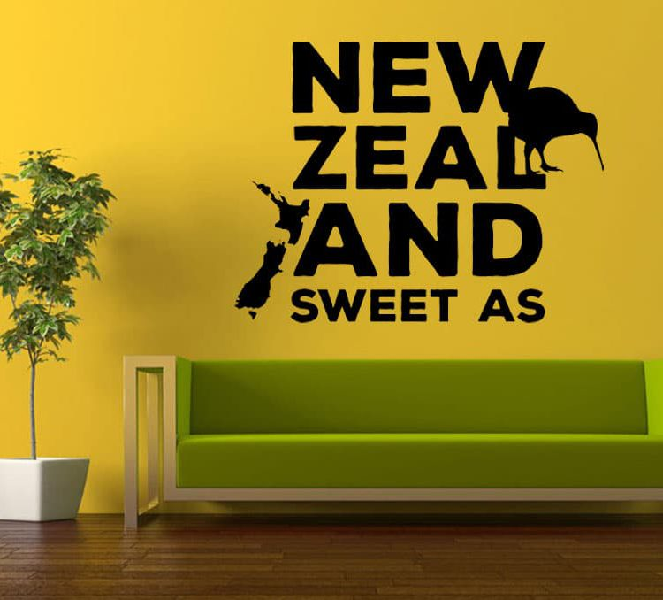 New Zealand Word Art Wall Decal