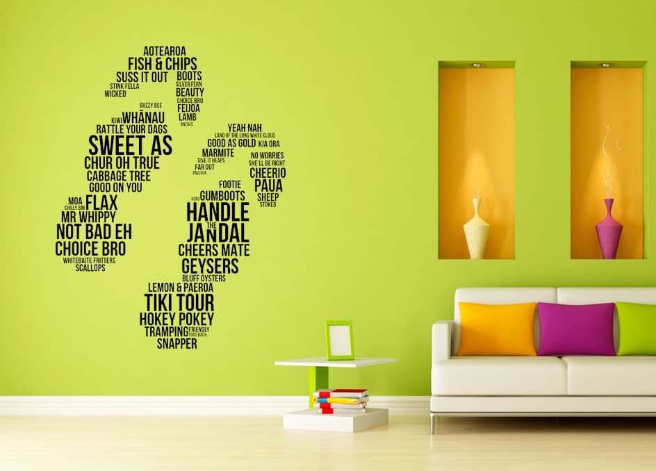 Jandals Wordart Wall Decal | Wall Stickers | Wall Graphics | I-CUE