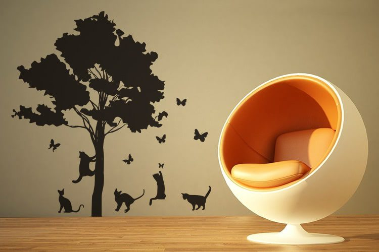 Cats and butterflies wall decal