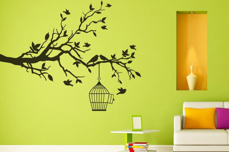 Tree Birds and Cage Wall Decal