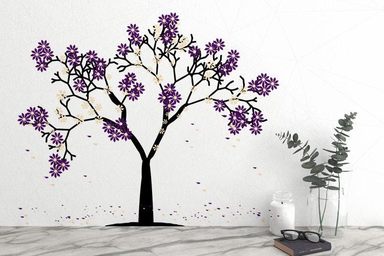 Purple Flower Tree Wall Decal