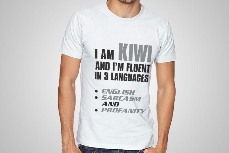 Flient In 3 Langauges Printed T-Shirt