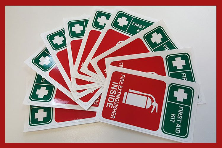 Firest Aid Kit - Fire Extinguisher inside Stickers